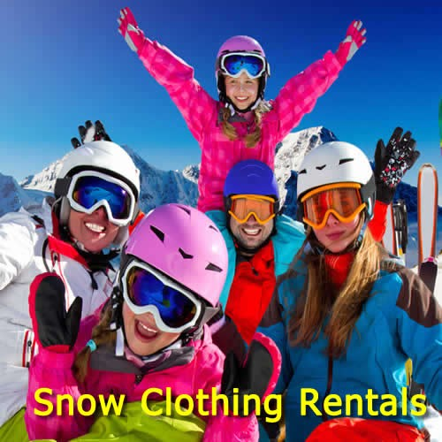 Hire Protective Warm Snow Clothing for Skiing Snowboarding in Snowy Mountains